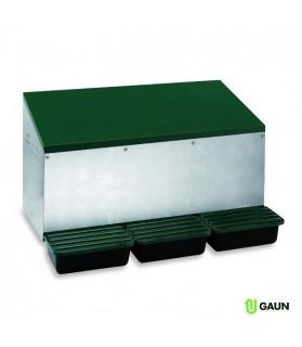 Nid Pondoir extérieur GAUN 3 compartiments fond plastique pour Poule