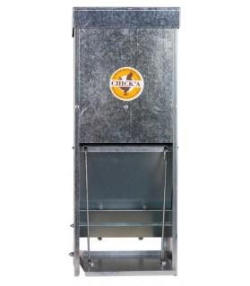 Mangeoire à trémie anti-nuisible en acier galvanisé 15 L pour Volaille